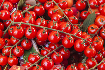 Cherry tomatoes on a market counter