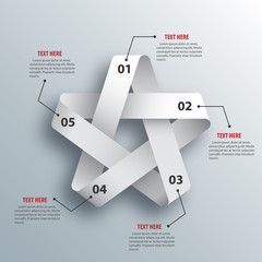 Abstract 3D Paper Infographics. Star shape. Vector illustration