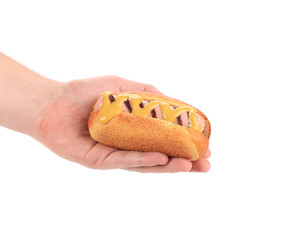Hot dog with sausage roll in hand.
