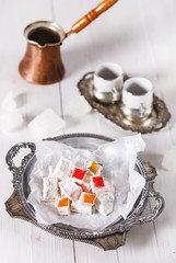 Turkish Delight over white wooden background
