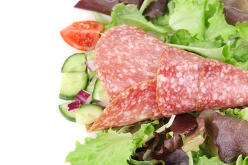 Salad with salami. Close up.