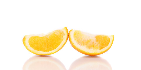 Ripe orange slices close up.