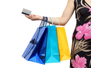 closeup of picture of woman with shopping bags and credit card