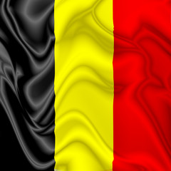 Belgium waving silk Flag
