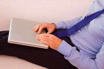 Businessman with laptop sitting couch