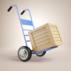 Hand truck and wooden box