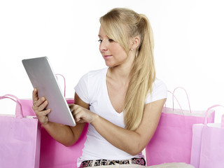 Woman is shopping on the internet