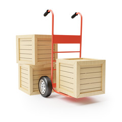 Hand truck and wooden boxes