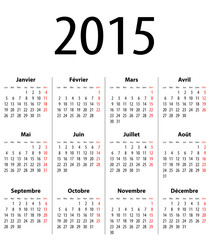 French Solid Calendar grid 2015 MF