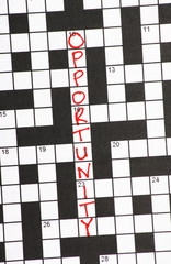 The word Opportunity on a newspaper crossword puzzle