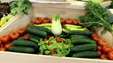 Different types of vegetables in the market - three shoots