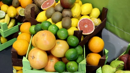 Different types of fruits in the market - two shoots