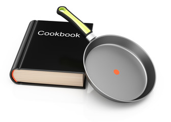 Cookbook and frying pan