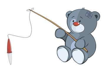 The stuffed toy bear cub the fisherman. Cartoon