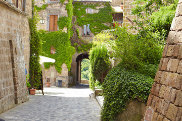 Medieval street in the Italian hill town