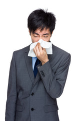 Business man runny nose