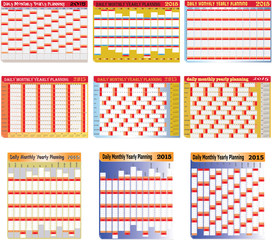 Set of Daily Monthly Yearly 2015 Planning Chart