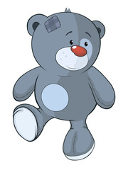 The stuffed toy bear cub cartoon