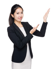 Business woman with two hand present
