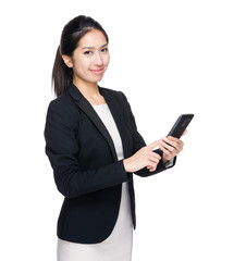 Businesswoman touch on cellphone