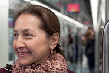 Portrait of  woman  in  subway