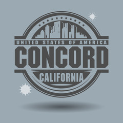 Stamp or label with text Concord, California inside
