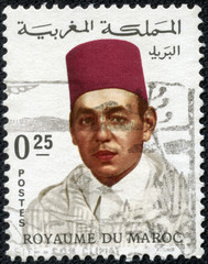 stamp shows Hassan II, King of Morocco