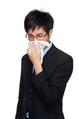 Businessman with sick flu