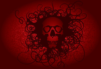 Skull love heart