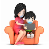 3d render of a happy mother and son using tablet