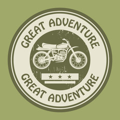 Motocross adventure label or stamp, vector illustration