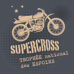 Motocross vintage background, vector illustration