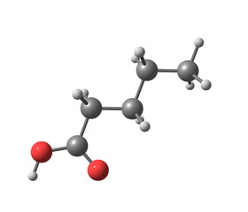 Valeric (pentanoic) acid molecule isolated on white
