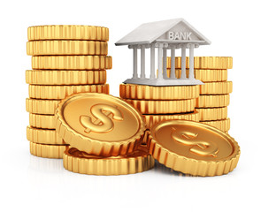 Coins stack and bank building