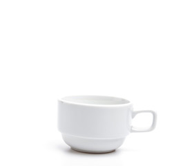 White coffee cup isolated white background