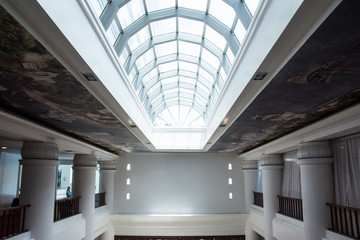 glass roof in building