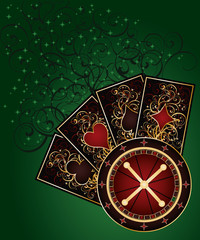 Casino background with roulette and poker cards