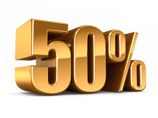3d render of a Gold 50 percent