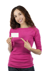 Smiling caucasian woman showing an empty sign card
