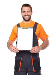 Young smiling engineer holding black folder