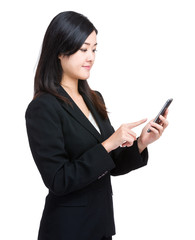 Business woman finger touch on mobile phone