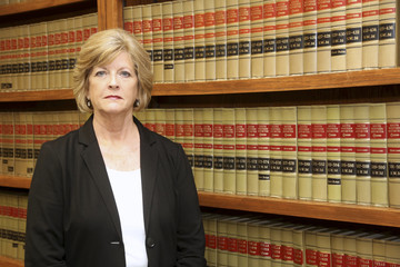 Woman Attorney in Law Office, Library