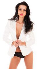 beautiful brunette in a white jacket