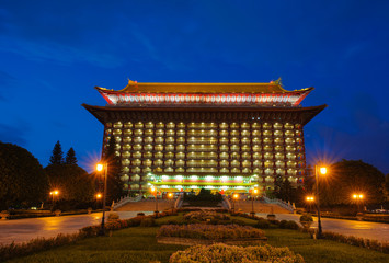 Night scene of grand hotel in Taipei, Taiwan