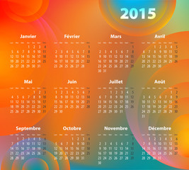 French colorful calendar for 2015 year
