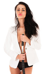 sexy stylish woman with a sword in hands