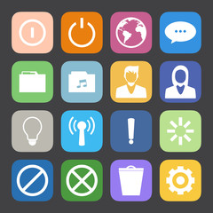 Flat Color style mobile phone icons vector set.