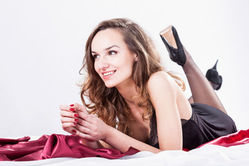 Woman waiting for man in bed