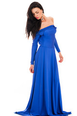 fashionable sexy woman in blue dress full length isolated