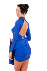 fashion sexy woman in blue dress isolate on white background